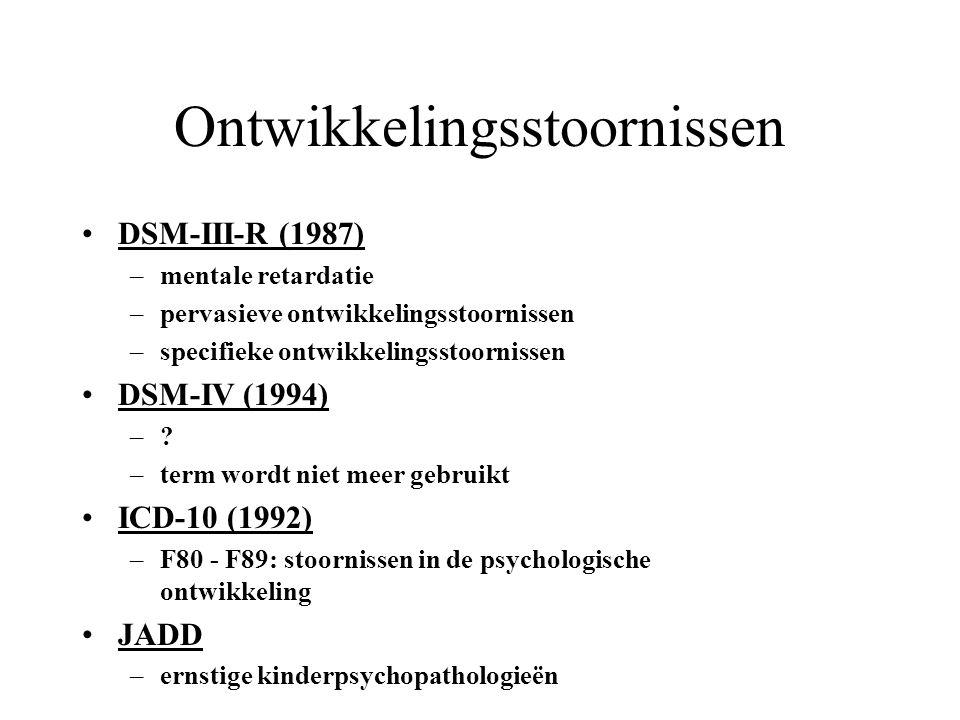 Ontwikkelingsstoornissen DSM-III-R (1987) –mentale retardatie –pervasieve ontwikkelingsstoornissen –specifieke ontwikkelingsstoornissen DSM-IV (1994) –?–.