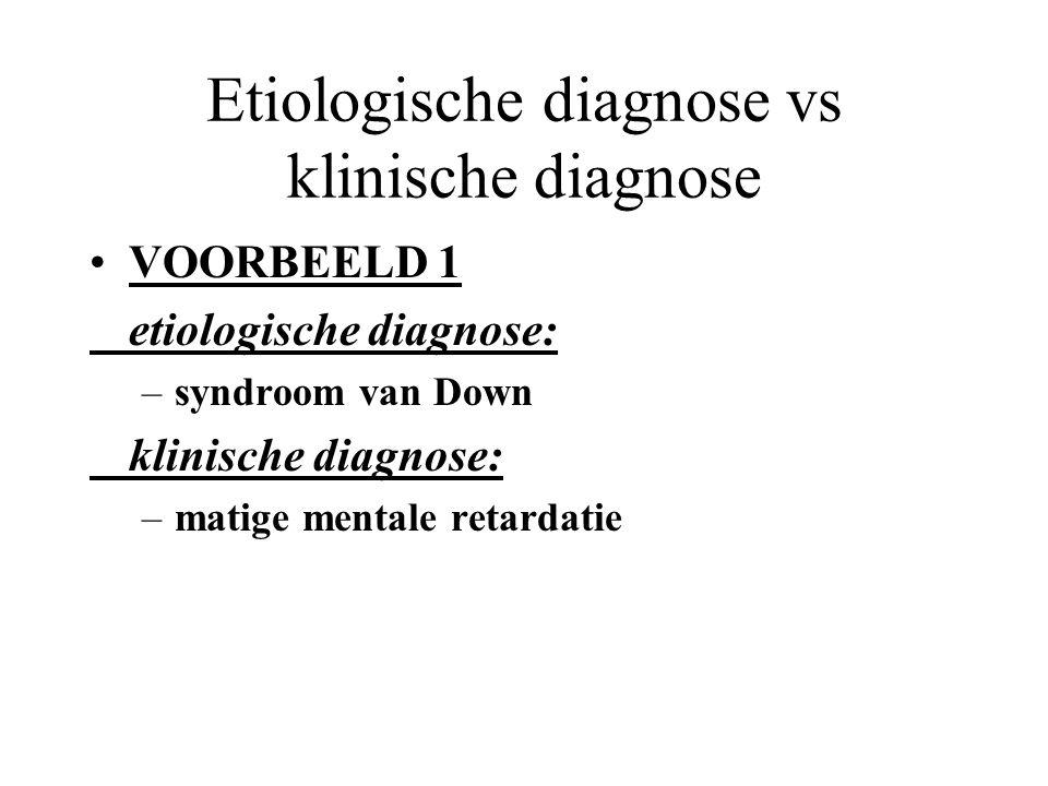 Diagnostiek moet multifactorieel gebeuren verwarring van diagnostische niveaus zorgt voor pseudo-differentiële diagnoses: –1. genetische of biologisch