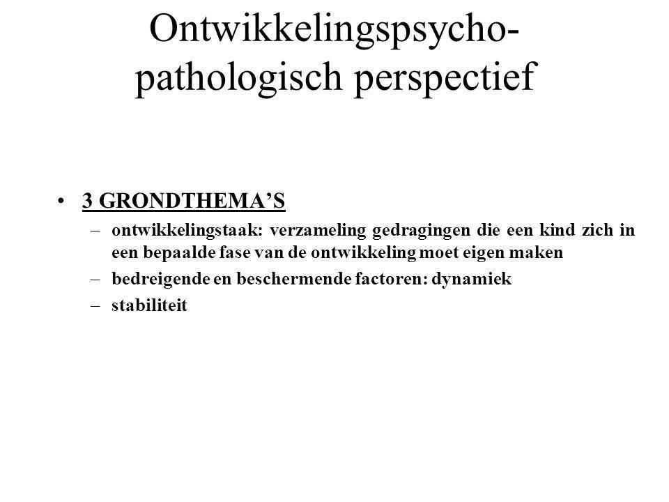 Ontwikkelingspsycho- pathologisch perspectief 3 GRONDTHEMA'S –ontwikkelingstaak: verzameling gedragingen die een kind zich in een bepaalde fase van de