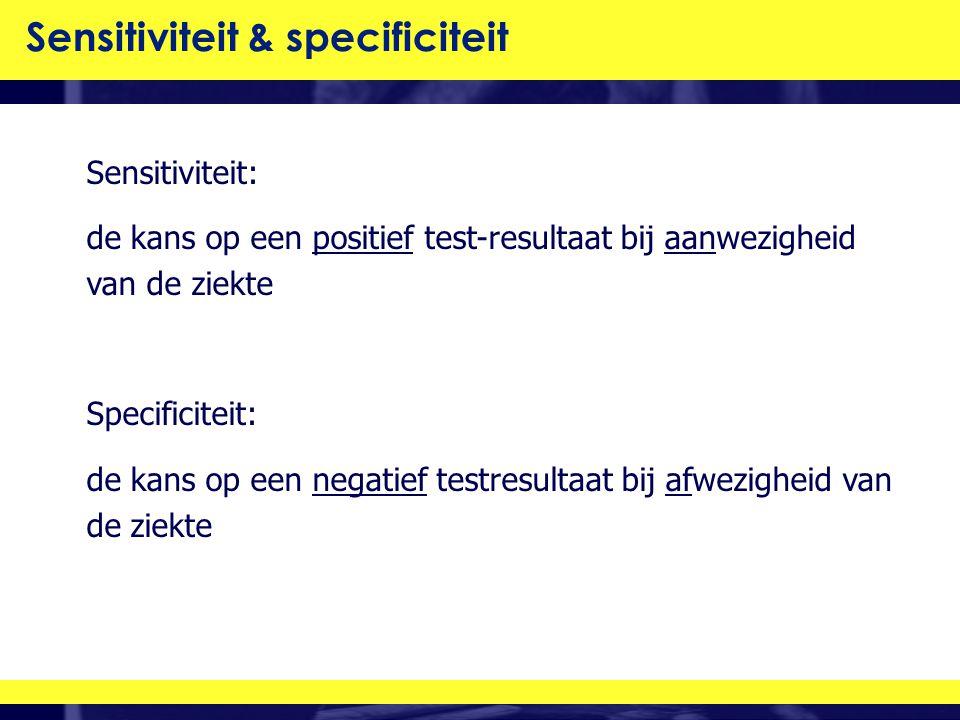 Sensitiviteit: de kans op een positief test-resultaat bij aanwezigheid van de ziekte Specificiteit: de kans op een negatief testresultaat bij afwezigheid van de ziekte Sensitiviteit & specificiteit