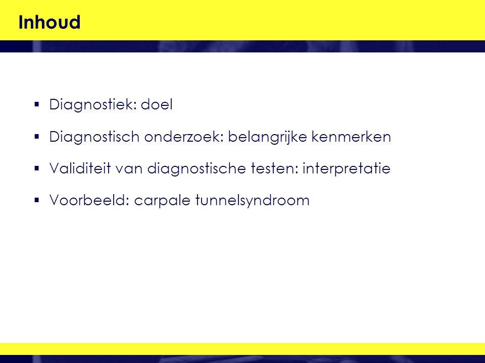 Inhoud  Diagnostiek: doel  Diagnostisch onderzoek: belangrijke kenmerken  Validiteit van diagnostische testen: interpretatie  Voorbeeld: carpale tunnelsyndroom