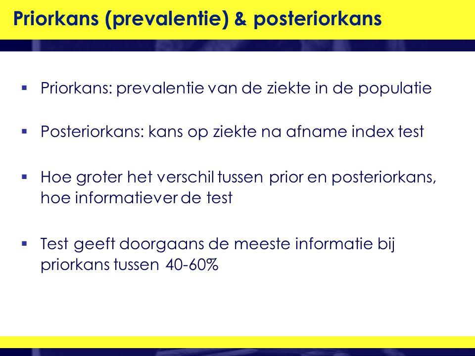  Priorkans: prevalentie van de ziekte in de populatie  Posteriorkans: kans op ziekte na afname index test  Hoe groter het verschil tussen prior en posteriorkans, hoe informatiever de test  Test geeft doorgaans de meeste informatie bij priorkans tussen 40-60% Priorkans (prevalentie) & posteriorkans