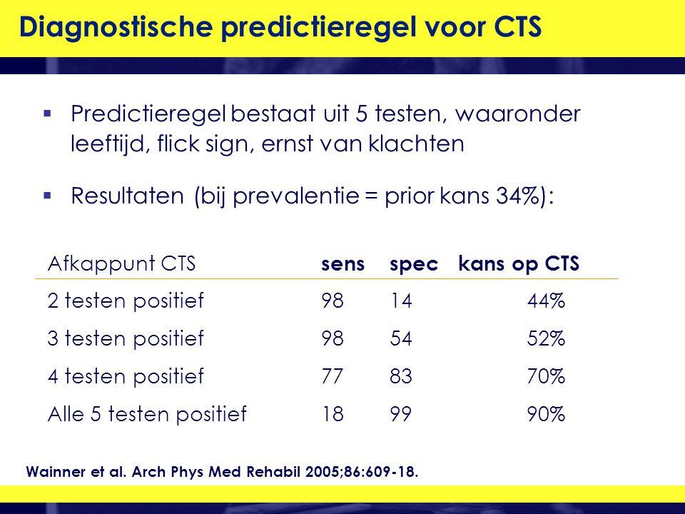  Predictieregel bestaat uit 5 testen, waaronder leeftijd, flick sign, ernst van klachten  Resultaten (bij prevalentie = prior kans 34%): Diagnostische predictieregel voor CTS Afkappunt CTS sensspeckans op CTS 2 testen positief981444% 3 testen positief985452% 4 testen positief778370% Alle 5 testen positief189990% Wainner et al.
