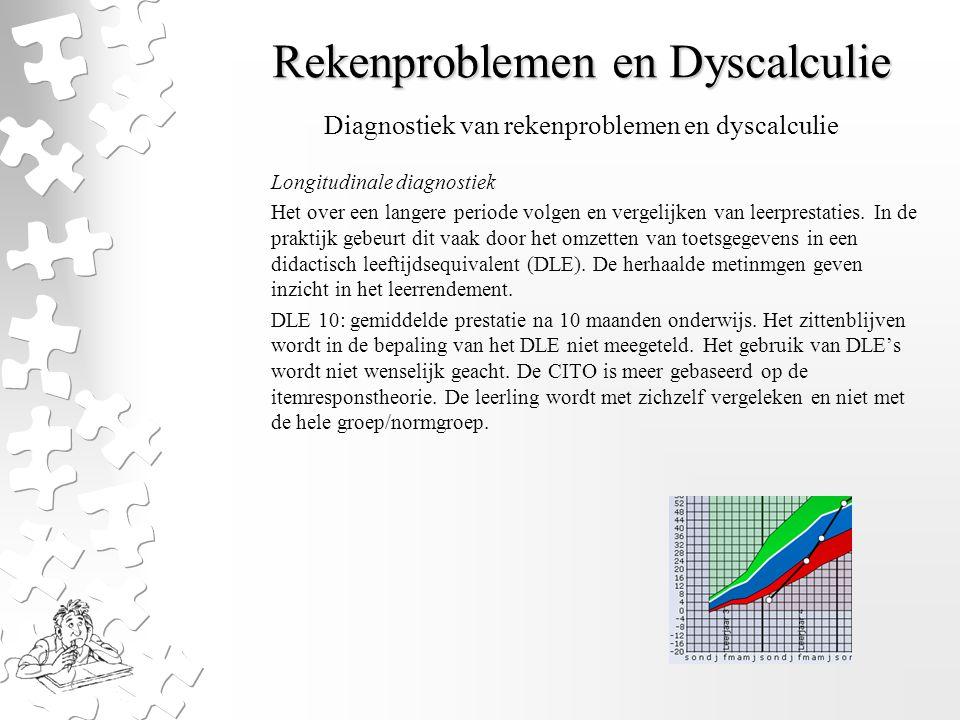 Rekenproblemen en Dyscalculie Longitudinale diagnostiek Het over een langere periode volgen en vergelijken van leerprestaties. In de praktijk gebeurt