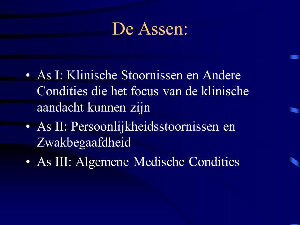 De Assen: As I: Klinische Stoornissen en Andere Condities die het focus van de klinische aandacht kunnen zijn As II: Persoonlijkheidsstoornissen en Zwakbegaafdheid As III: Algemene Medische Condities