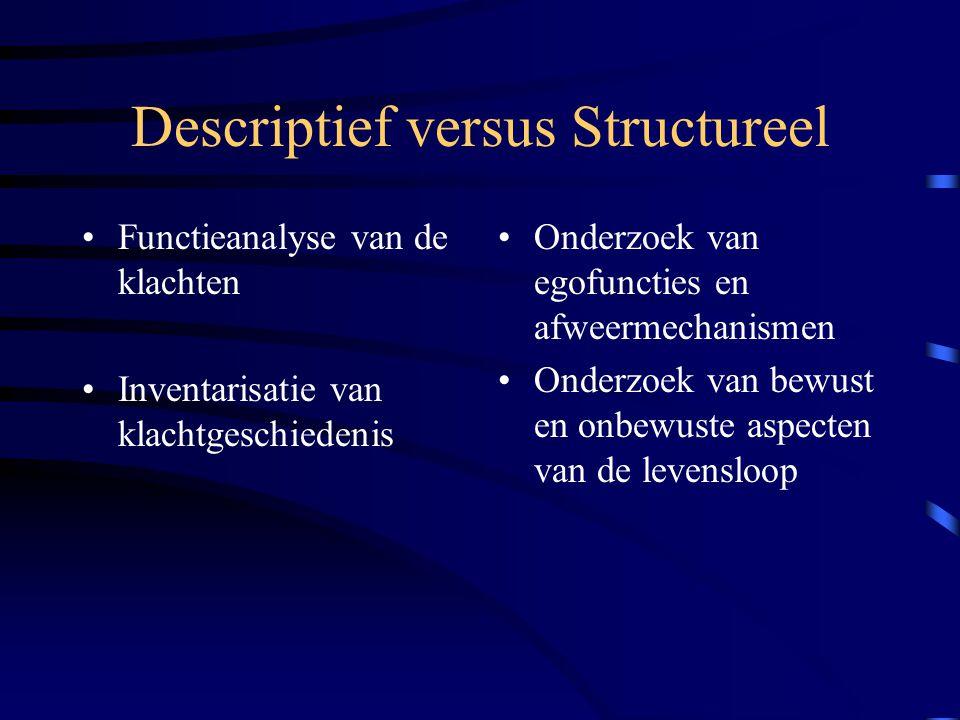 Descriptief versus Structureel Functieanalyse van de klachten Inventarisatie van klachtgeschiedenis Onderzoek van egofuncties en afweermechanismen Onderzoek van bewust en onbewuste aspecten van de levensloop