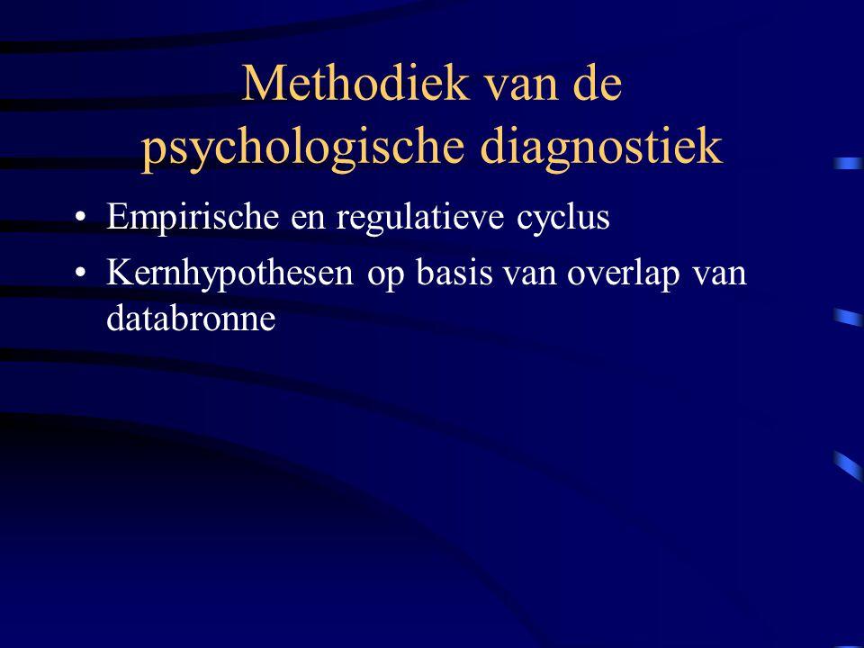 Methodiek van de psychologische diagnostiek Empirische en regulatieve cyclus Kernhypothesen op basis van overlap van databronne