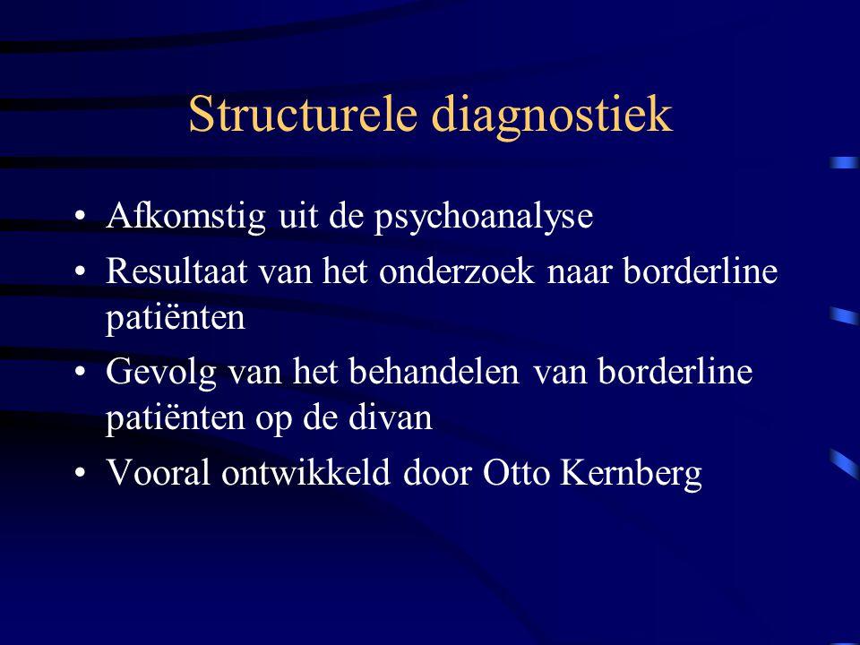 Structurele diagnostiek Afkomstig uit de psychoanalyse Resultaat van het onderzoek naar borderline patiënten Gevolg van het behandelen van borderline patiënten op de divan Vooral ontwikkeld door Otto Kernberg