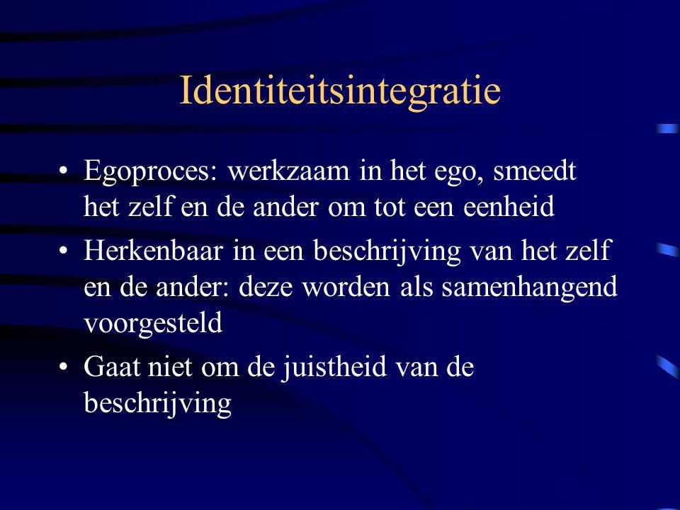 Identiteitsintegratie Egoproces: werkzaam in het ego, smeedt het zelf en de ander om tot een eenheid Herkenbaar in een beschrijving van het zelf en de ander: deze worden als samenhangend voorgesteld Gaat niet om de juistheid van de beschrijving