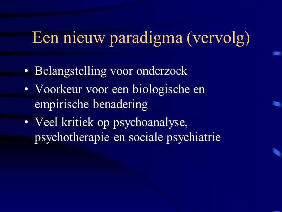 Een nieuw paradigma (vervolg) Belangstelling voor onderzoek Voorkeur voor een biologische en empirische benadering Veel kritiek op psychoanalyse, psychotherapie en sociale psychiatrie