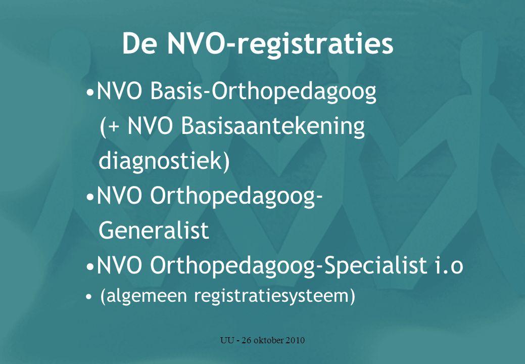 UU - 26 oktober 2010 De NVO-registraties NVO Basis-Orthopedagoog (+ NVO Basisaantekening diagnostiek) NVO Orthopedagoog- Generalist NVO Orthopedagoog-Specialist i.o (algemeen registratiesysteem)