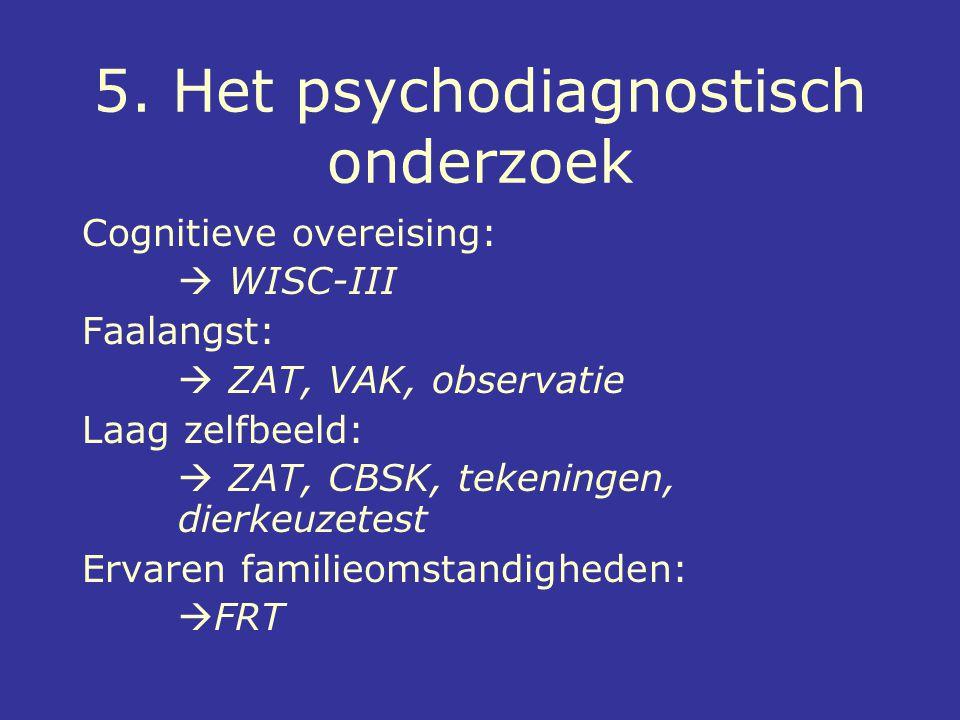 5. Het psychodiagnostisch onderzoek Cognitieve overeising:  WISC-III Faalangst:  ZAT, VAK, observatie Laag zelfbeeld:  ZAT, CBSK, tekeningen, dierk
