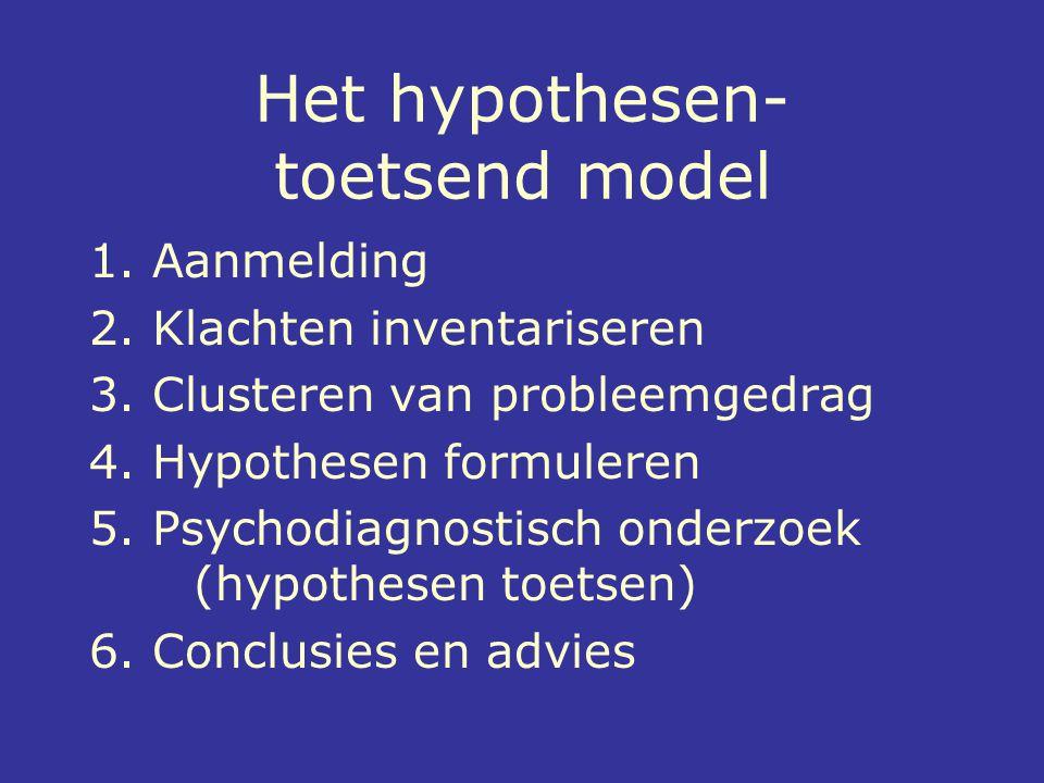 Het hypothesen- toetsend model 1. Aanmelding 2. Klachten inventariseren 3. Clusteren van probleemgedrag 4. Hypothesen formuleren 5. Psychodiagnostisch