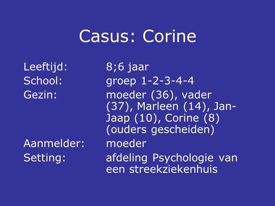Casus: Corine Leeftijd: 8;6 jaar School: groep 1-2-3-4-4 Gezin: moeder (36), vader (37), Marleen (14), Jan- Jaap (10), Corine (8) (ouders gescheiden)