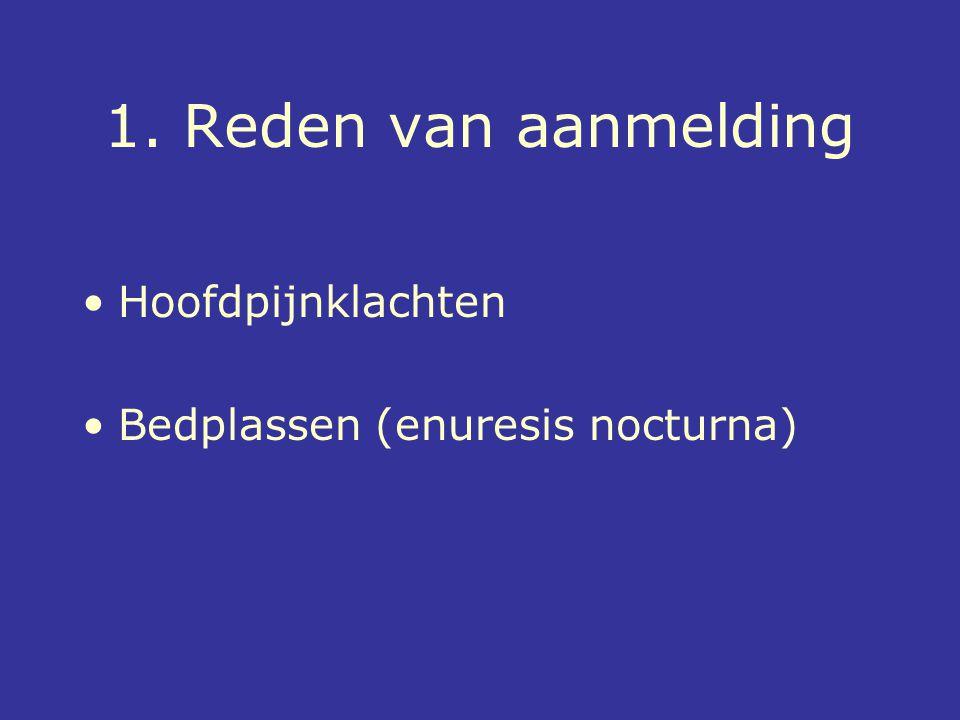 1. Reden van aanmelding Hoofdpijnklachten Bedplassen (enuresis nocturna)