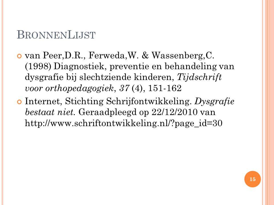 B RONNEN L IJST van Peer,D.R., Ferweda,W. & Wassenberg,C. (1998) Diagnostiek, preventie en behandeling van dysgrafie bij slechtziende kinderen, Tijdsc