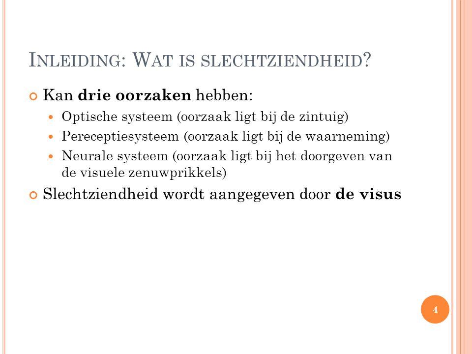 I NLEIDING : W AT IS SLECHTZIENDHEID ? Kan drie oorzaken hebben: Optische systeem (oorzaak ligt bij de zintuig) Pereceptiesysteem (oorzaak ligt bij de