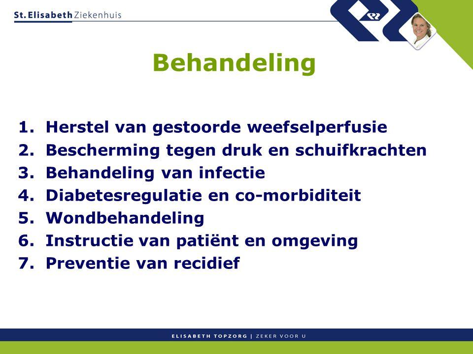 Behandeling 1. Herstel van gestoorde weefselperfusie 2. Bescherming tegen druk en schuifkrachten 3. Behandeling van infectie 4. Diabetesregulatie en c