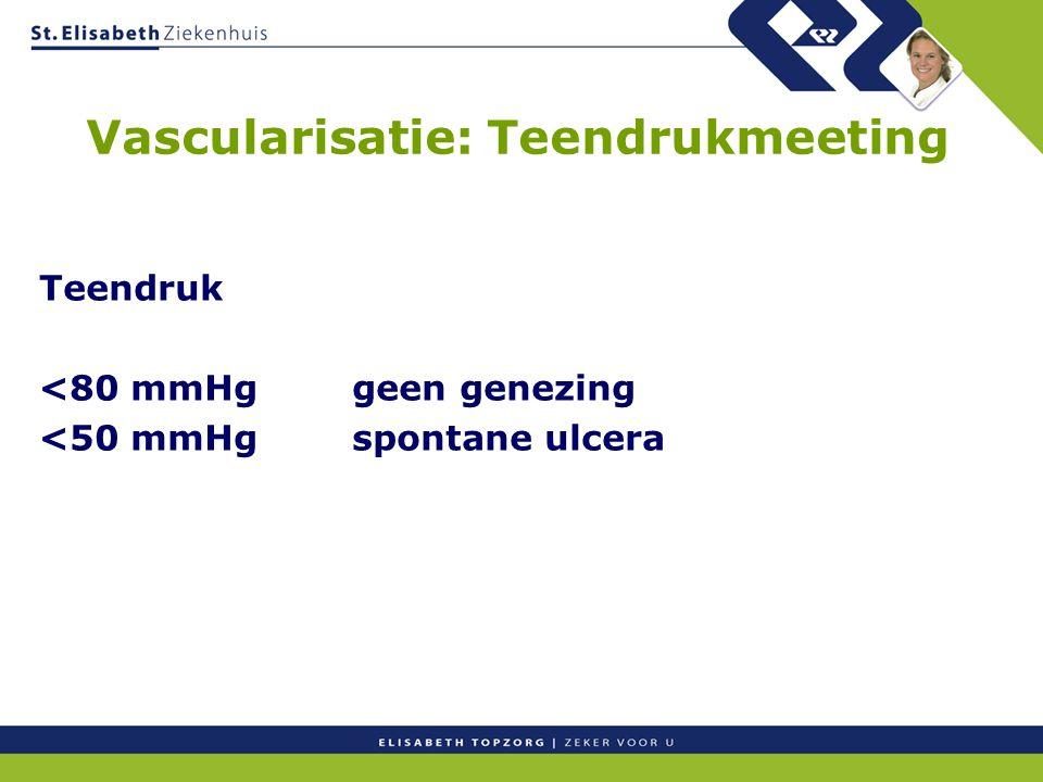 Teendruk <80 mmHggeen genezing <50 mmHgspontane ulcera Vascularisatie: Teendrukmeeting
