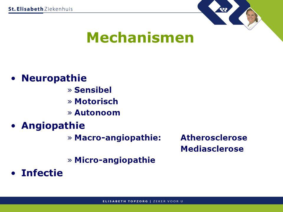 Mechanismen Neuropathie »Sensibel »Motorisch »Autonoom Angiopathie »Macro-angiopathie:Atherosclerose Mediasclerose »Micro-angiopathie Infectie