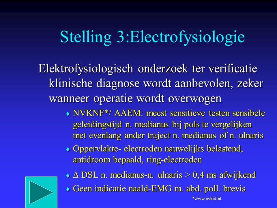 Elektrofysiologisch onderzoek ter verificatie klinische diagnose wordt aanbevolen, zeker wanneer operatie wordt overwogen  NVKNF*/ AAEM: meest sensit
