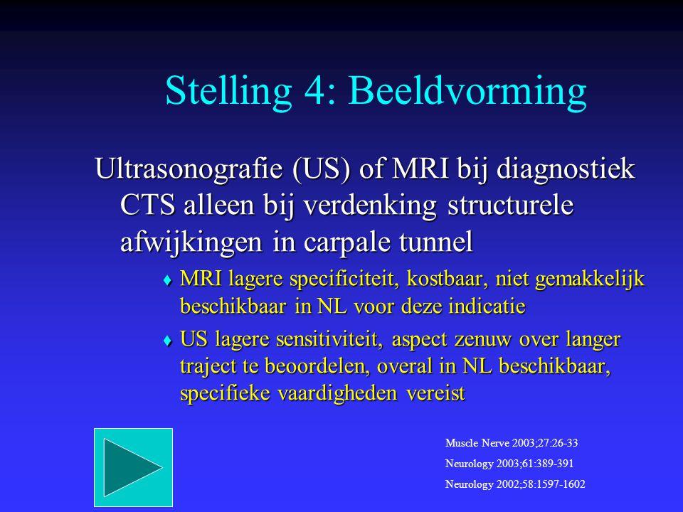 Ultrasonografie (US) of MRI bij diagnostiek CTS alleen bij verdenking structurele afwijkingen in carpale tunnel  MRI lagere specificiteit, kostbaar,