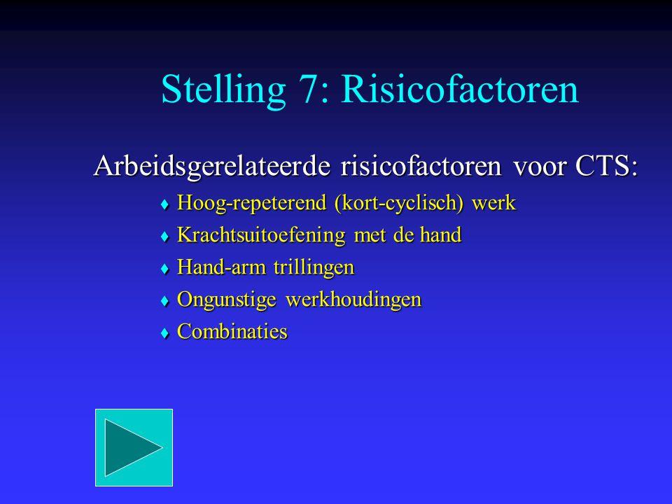 Stelling 7: Risicofactoren Arbeidsgerelateerde risicofactoren voor CTS:  Hoog-repeterend (kort-cyclisch) werk  Krachtsuitoefening met de hand  Hand
