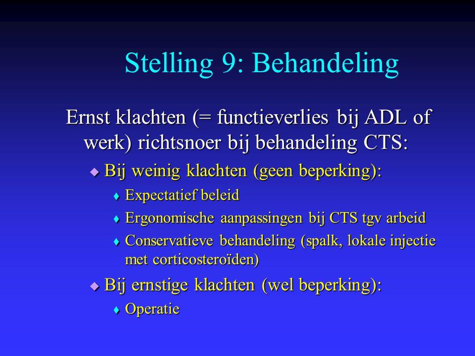 Ernst klachten (= functieverlies bij ADL of werk) richtsnoer bij behandeling CTS:  Bij weinig klachten (geen beperking):  Expectatief beleid  Ergon