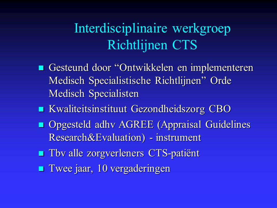 Routinematig laboratoriumonderzoek naar co- morbiditeit bij CTS wordt niet aanbevolen  Bij CTS verhoogde prevalentie van DM, hypothyreoidie en reumatoide arthritis  CTS zelden beginsymptoom van DM, hypothyreoidie en reumatoide arthritis  Onvoldoende bewijs voor routine lab onderzoek op DM, hypothyreoidie en reumatoide arthritis Stelling 5b: Co-morbiditeit Clin Chem 2003;49:1437-1444