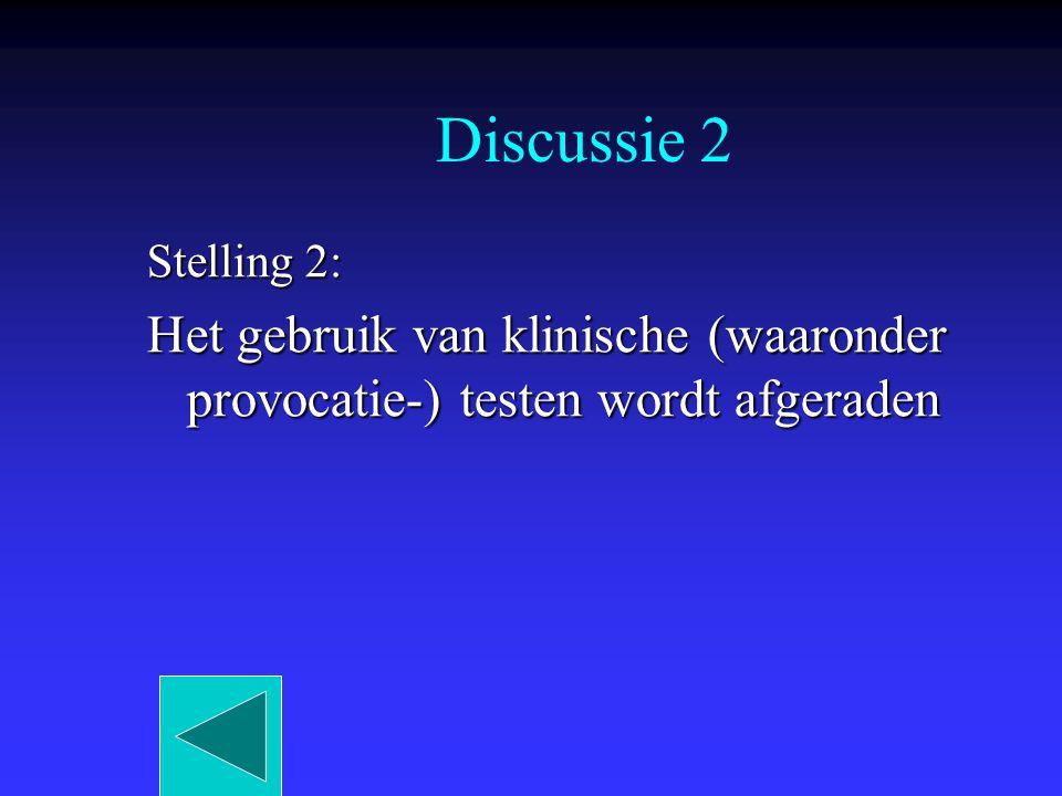 Discussie 2 Stelling 2: Het gebruik van klinische (waaronder provocatie-) testen wordt afgeraden