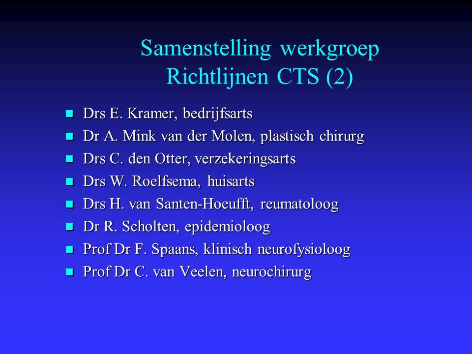 Definitie CTS Geen gouden standaard Geen gouden standaard Symptomen tgv compressie n.