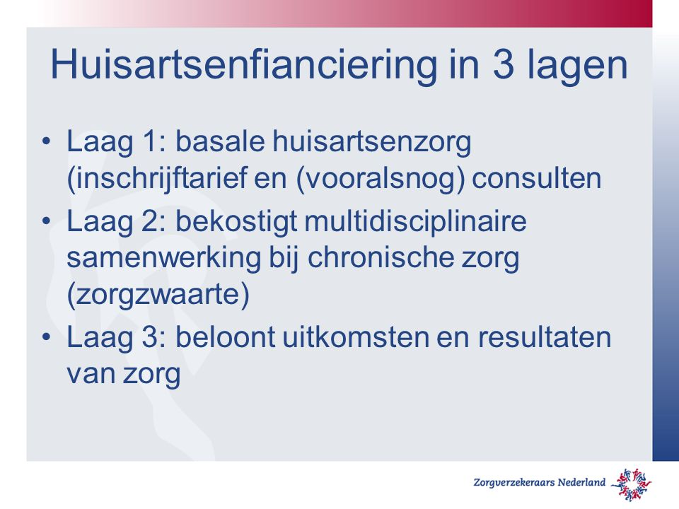Huisartsenfianciering in 3 lagen Laag 1: basale huisartsenzorg (inschrijftarief en (vooralsnog) consulten Laag 2: bekostigt multidisciplinaire samenwerking bij chronische zorg (zorgzwaarte) Laag 3: beloont uitkomsten en resultaten van zorg