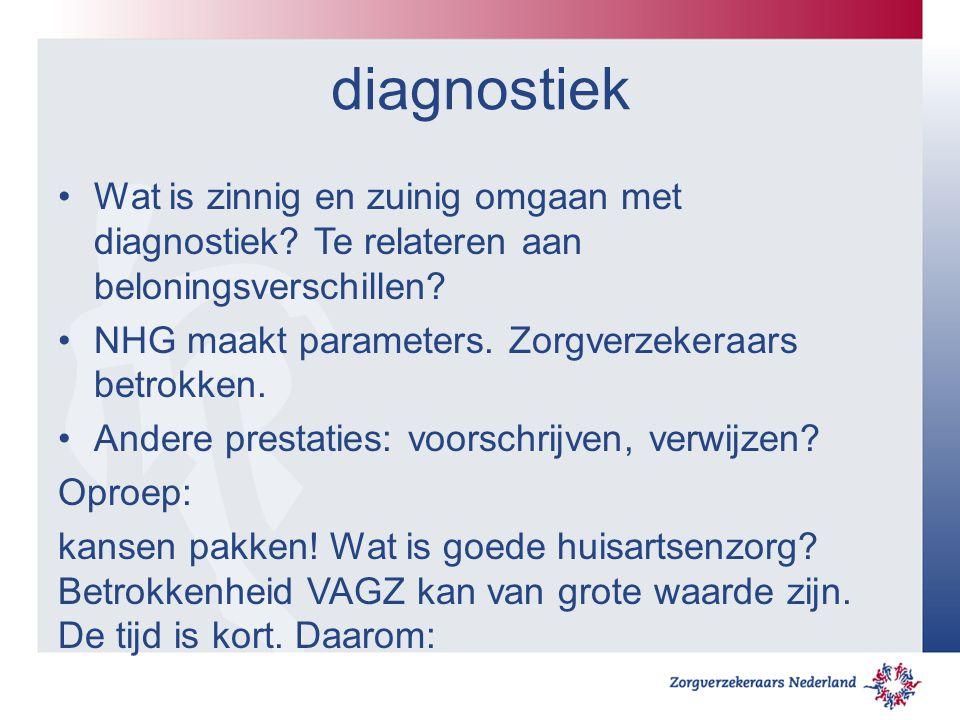 diagnostiek Wat is zinnig en zuinig omgaan met diagnostiek? Te relateren aan beloningsverschillen? NHG maakt parameters. Zorgverzekeraars betrokken. A