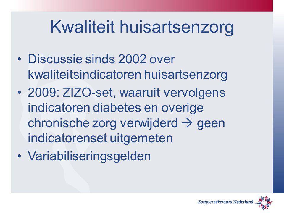 Kwaliteit huisartsenzorg Discussie sinds 2002 over kwaliteitsindicatoren huisartsenzorg 2009: ZIZO-set, waaruit vervolgens indicatoren diabetes en overige chronische zorg verwijderd  geen indicatorenset uitgemeten Variabiliseringsgelden