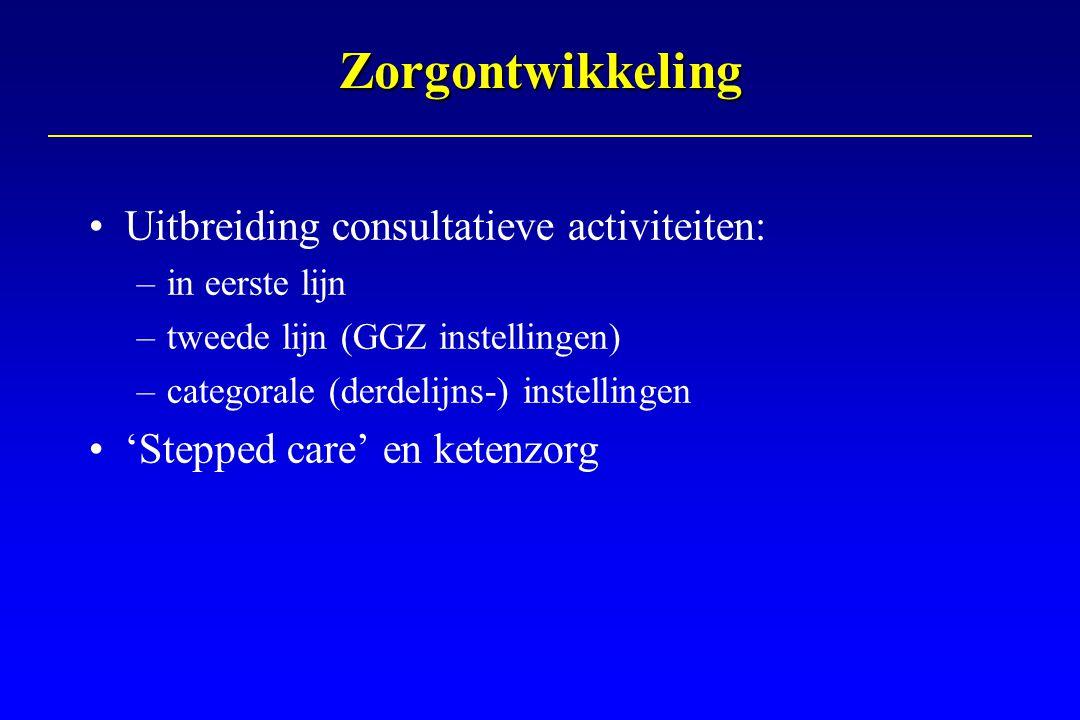 Zorgontwikkeling Uitbreiding consultatieve activiteiten: –in eerste lijn –tweede lijn (GGZ instellingen) –categorale (derdelijns-) instellingen 'Stepp