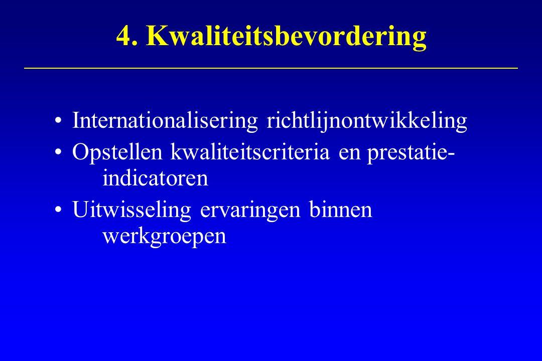 4. Kwaliteitsbevordering Internationalisering richtlijnontwikkeling Opstellen kwaliteitscriteria en prestatie- indicatoren Uitwisseling ervaringen bin