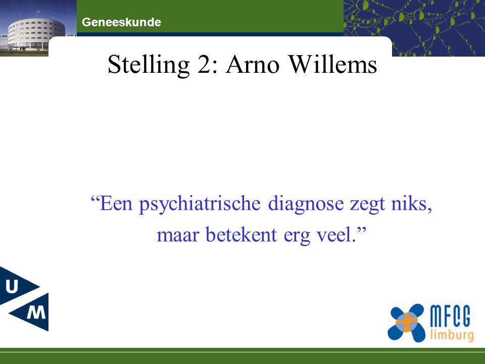 """Geneeskunde Stelling 2: Arno Willems """"Een psychiatrische diagnose zegt niks, maar betekent erg veel."""""""