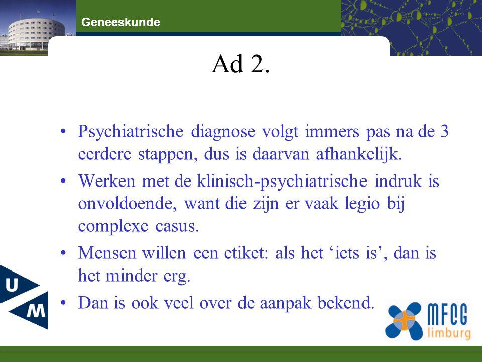 Geneeskunde Ad 2. Psychiatrische diagnose volgt immers pas na de 3 eerdere stappen, dus is daarvan afhankelijk. Werken met de klinisch-psychiatrische