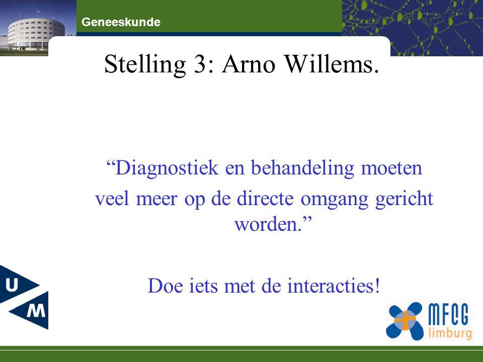 """Geneeskunde Stelling 3: Arno Willems. """"Diagnostiek en behandeling moeten veel meer op de directe omgang gericht worden."""" Doe iets met de interacties!"""