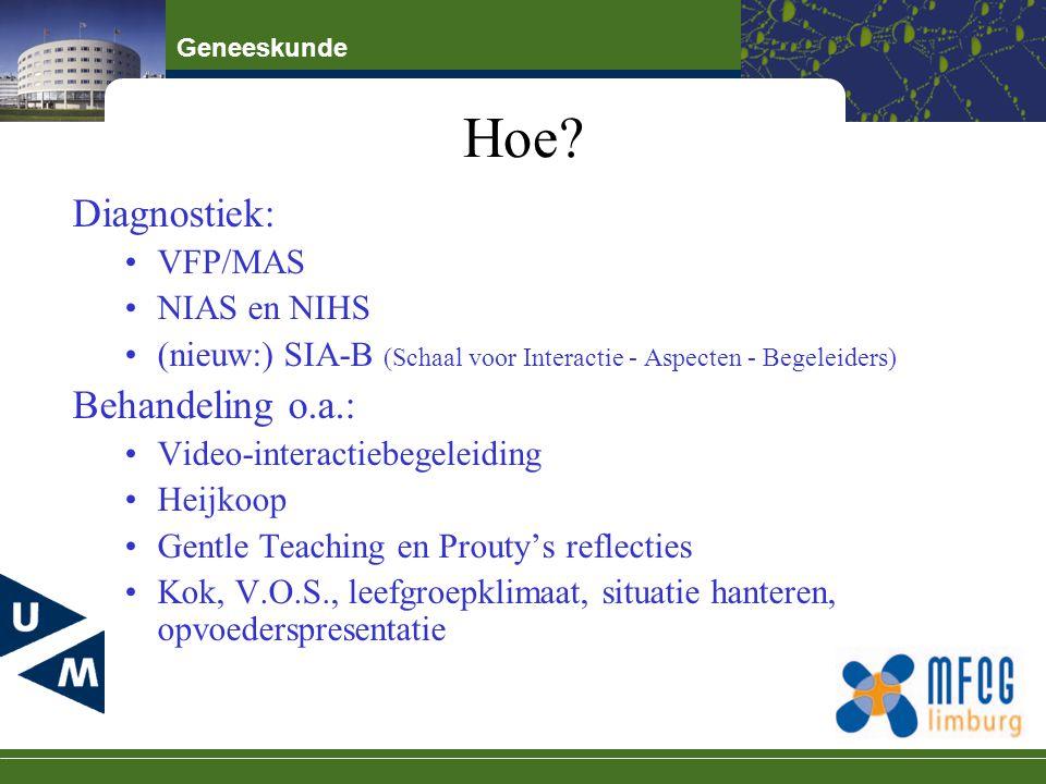 Geneeskunde Hoe? Diagnostiek: VFP/MAS NIAS en NIHS (nieuw:) SIA-B (Schaal voor Interactie - Aspecten - Begeleiders) Behandeling o.a.: Video-interactie