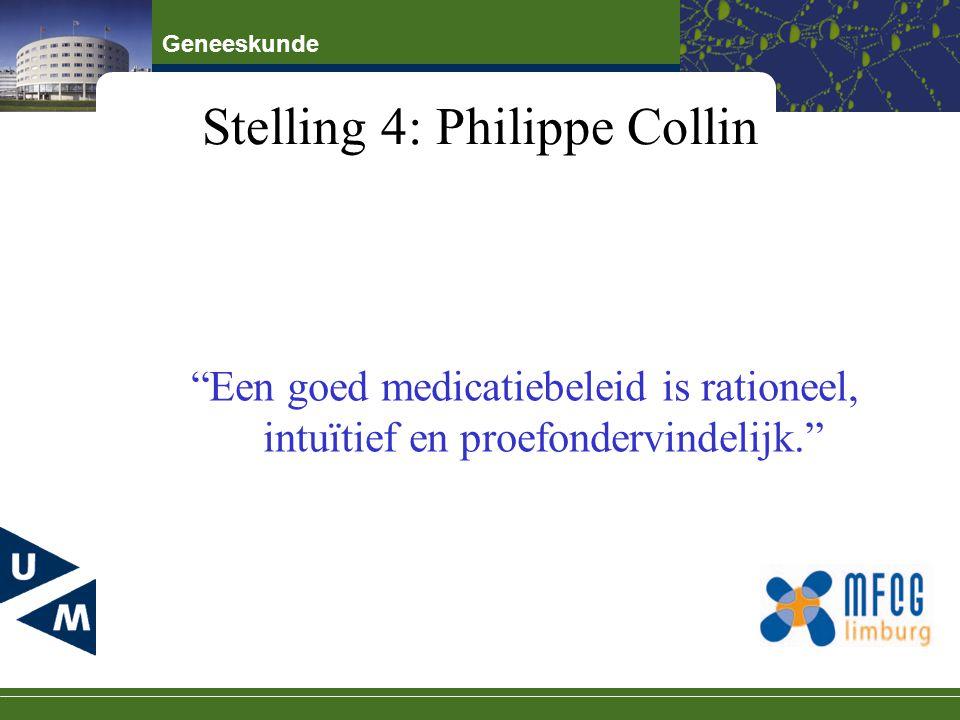 """Geneeskunde Stelling 4: Philippe Collin """"Een goed medicatiebeleid is rationeel, intuïtief en proefondervindelijk."""""""