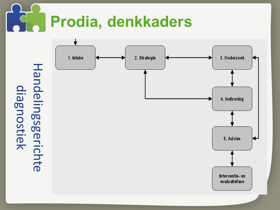 Handelingsgerichte diagnostiek Prodia, denkkaders