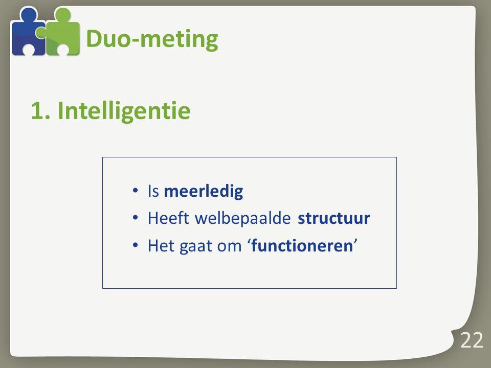 Duo-meting Is meerledig Heeft welbepaalde structuur Het gaat om 'functioneren' 22 1. Intelligentie