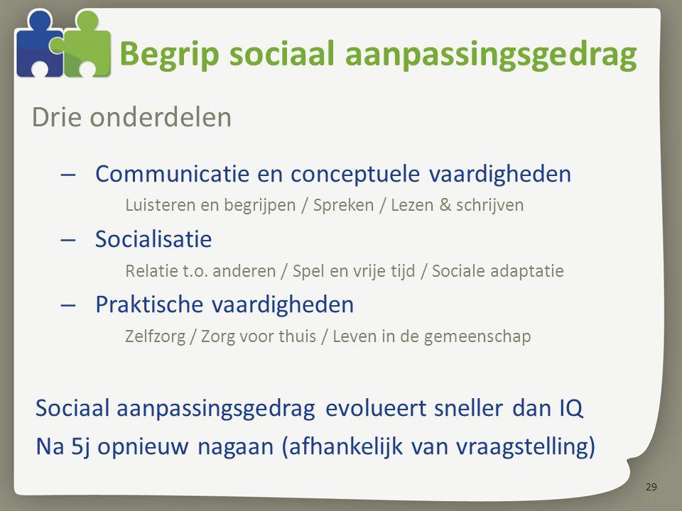 29 Begrip sociaal aanpassingsgedrag Drie onderdelen – Communicatie en conceptuele vaardigheden Luisteren en begrijpen / Spreken / Lezen & schrijven – Socialisatie Relatie t.o.