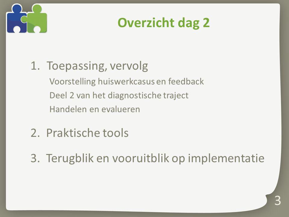 3 Overzicht dag 2 1.Toepassing, vervolg Voorstelling huiswerkcasus en feedback Deel 2 van het diagnostische traject Handelen en evalueren 2.