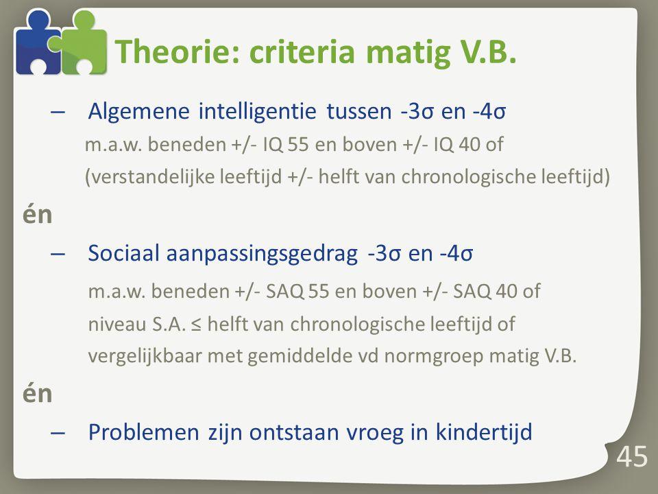 45 Theorie: criteria matig V.B.– Algemene intelligentie tussen -3σ en -4σ m.a.w.