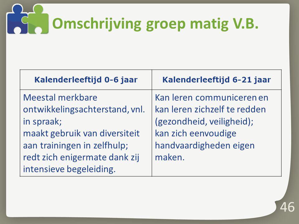 Omschrijving groep matig V.B.