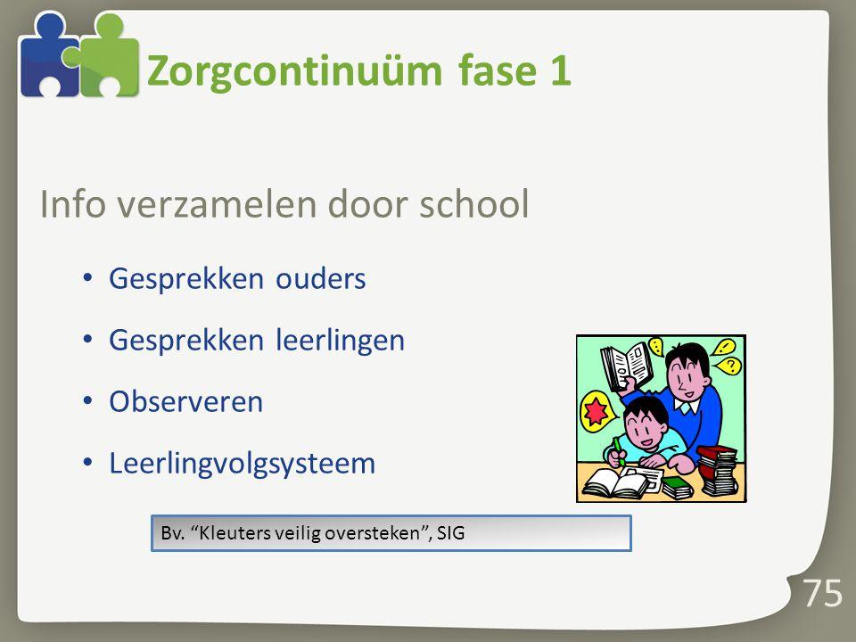 75 Zorgcontinuüm fase 1 Info verzamelen door school Gesprekken ouders Gesprekken leerlingen Observeren Leerlingvolgsysteem Bv.