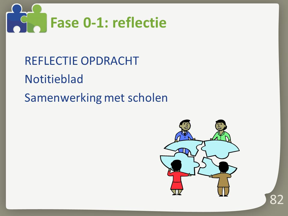 82 Fase 0-1: reflectie REFLECTIE OPDRACHT Notitieblad Samenwerking met scholen