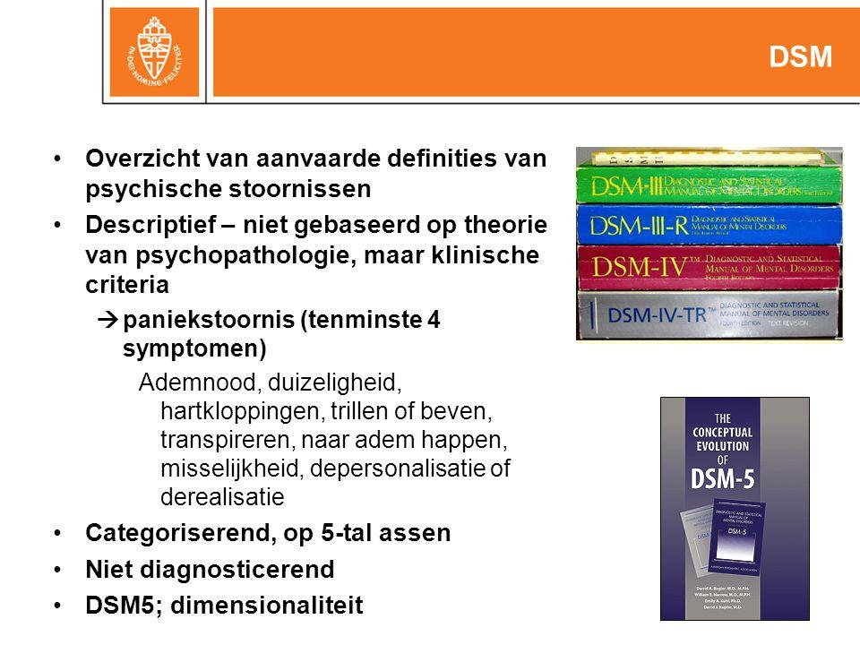Overzicht van aanvaarde definities van psychische stoornissen Descriptief – niet gebaseerd op theorie van psychopathologie, maar klinische criteria  paniekstoornis (tenminste 4 symptomen) Ademnood, duizeligheid, hartkloppingen, trillen of beven, transpireren, naar adem happen, misselijkheid, depersonalisatie of derealisatie Categoriserend, op 5-tal assen Niet diagnosticerend DSM5; dimensionaliteit DSM